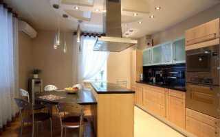 Натяжной потолок на кухне: дизайн, фото