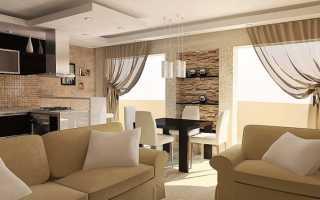 Шторы в гостиную-кухню: с одним окном, двумя окнами, с панорамными окнами, фото