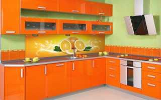 Оранжевые обои на кухне + фото
