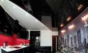 Дизайн потолка на кухне: многоуровневый, черный, глянцевый, реальные фото