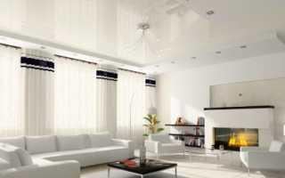 Потолок в гостиной – красивый, современный, глянцевый: оформление