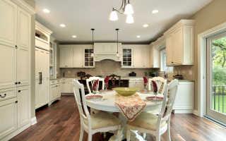 Освещение на кухне с натяжным потолком: как расположить светильники и люстру