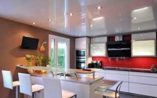 Натяжной потолок на кухне: глянцевый и матовый, одноуровневый, сатиновый