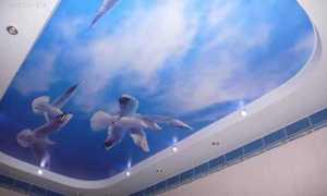 Небосвод – натяжные потолки: фотопечать с облаками, подсветка, фото