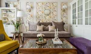 Идеи комбинирования обоев в гостиной + фото