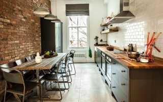 Кирпичная стена на кухне: отделка декоративным кирпичом кухонного интерьера