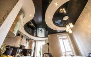 Освещение на кухне с натяжным потолком: фото