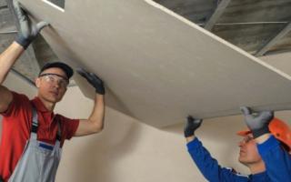 Потолок своими руками из гипсокартона: устройство, расход профиля на 1м2, пошаговая инструкция монтажа, отделка