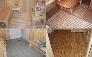 Пол в бане своими руками: бетонный, деревянный