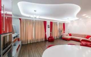 Двухуровневые натяжные потолки для зала, спальни, кухни, с подсветкой