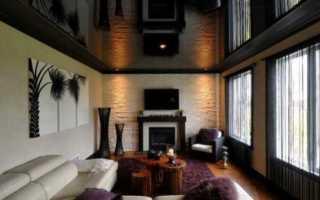 Коричневый натяжной потолок: глянцевый, шоколадный, фото в интерьере