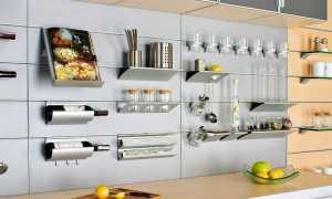 Полки на рейлинги для кухни: навесные и угловые, полка с крючками