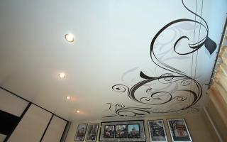 Натяжные потолки – фото для спальни: одноуровневые, матовые, глянцевые, с рисунком, с фотопечатью
