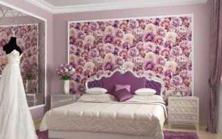 Дизайн спальни с обоями двух цветов