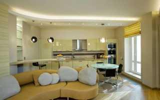 Потолок в кухне – студии: натяжной, из гипсокартона, двухуровневый, освещение