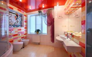 Красный натяжной потолок: фото в интерьере, на кухне, в спальне, в ванной