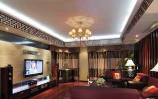 Двухуровневые натяжные потолки в гостиную