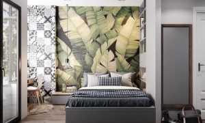 Интерьер спальни с обоями двух видов + фото